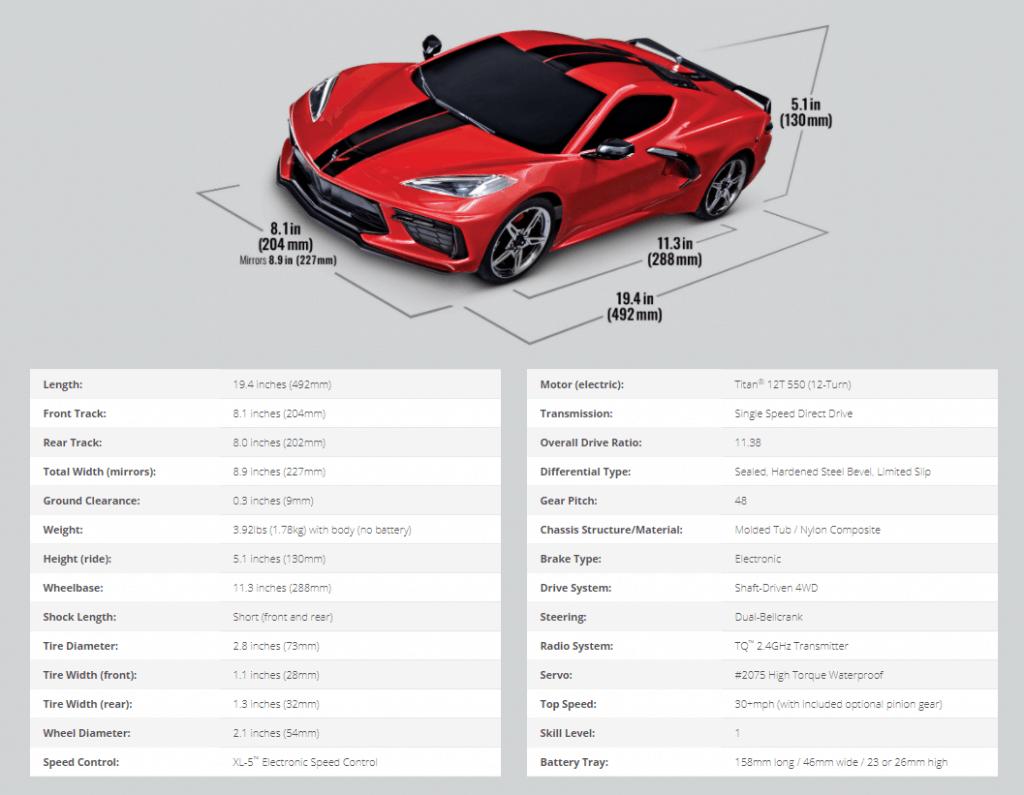 Especificaciones Traxxas Corvette Stingray